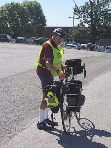 Parking lot practice before the ride <BR><em>Photo courtesy Harold Karabell</em>