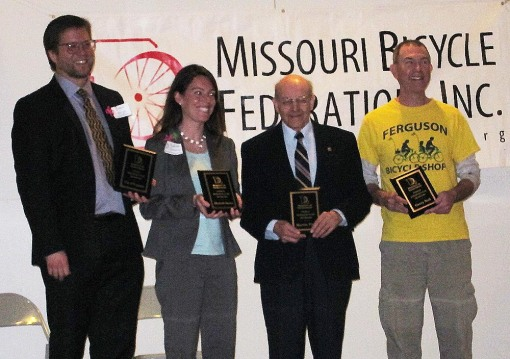 MBF Award 2013: (from L to R) Dr. Brent Hugh, Elizabeth Simons, City of Ferguson, Martin Pion, League Cycling Instructor, and Gerry Noll, owner Ferguson Bicycling Shop and CyclingSavvy Instructor
