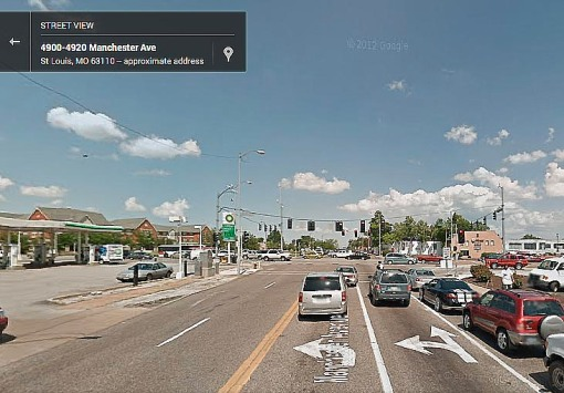 This shows the above intersection looking east. The inside lane is a left-turn-only lane.