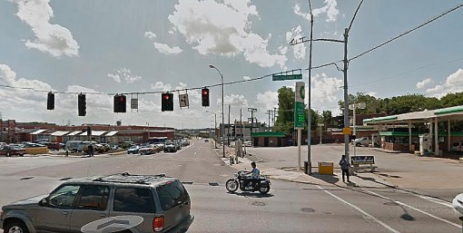 Image taken from Google maps looking west with BP gas station on the right.