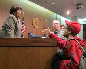 Eli Karabell talking to Councilmember Hazel Erby on 2013-12-10
