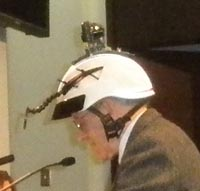 Martin Pion donning helmet to make a point