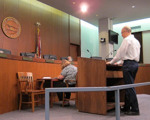 Stephen Baker addressing county council