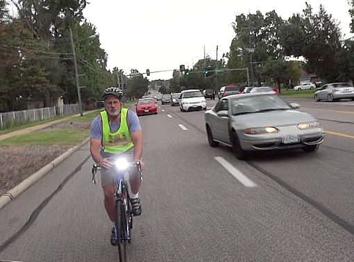 Nick Kasoff controlling the curb lane on W. Florissant Ave.