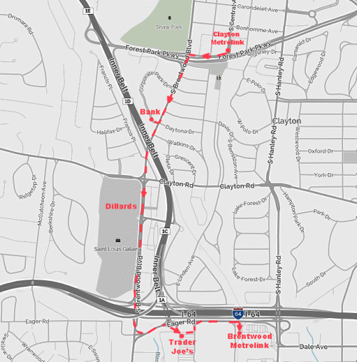 Map Clayton for KK bike ride 2014